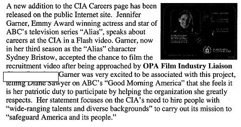 CIA What's News on Recruiting Jennifer Garner