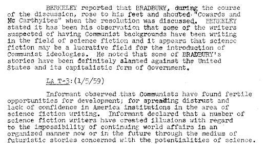 FBI Bradbury Sci Fi Communist Ideology