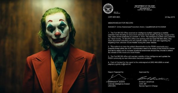 Even the US Army Warned of Violence at the Joker Premiere But So Far, So Good