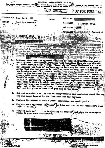 Marilyn Monroe CIA document