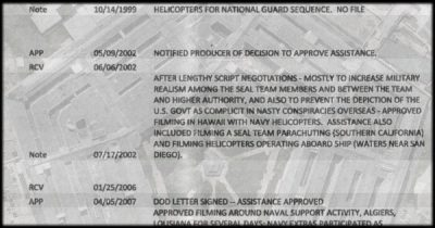 Pentagon-Hollywood Collaboration Database Excerpts