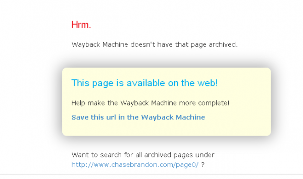 WaybackMachine-ChaseBrandon-SecretPagesNotArchived